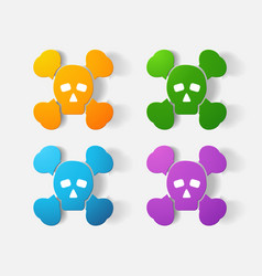 Paper clipped sticker symbol poison skull vector