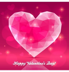 Pink transparent crystal heart vector image