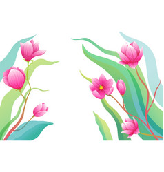 romantic roses or magnolia flowers on empty vector image