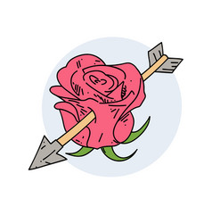 Rose with an arrow in it vector