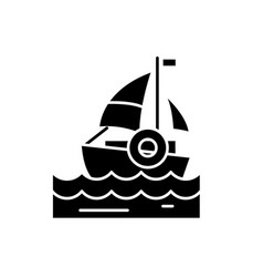 sailing black icon sign on isolated vector image
