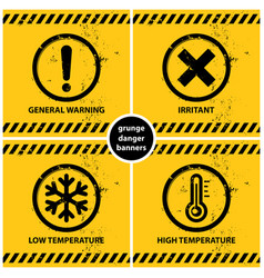 set grunge warning banners vector image
