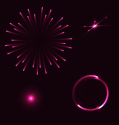 Set of different flares on blue background vector