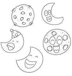 set of moon vector image