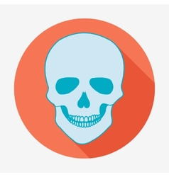 Single flat skull icon with long shadow vector
