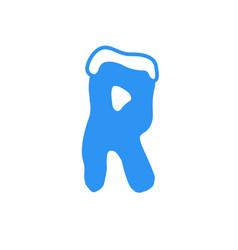 snow letter logo r vector image