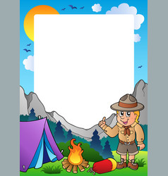summer frame with scout theme 1 vector image
