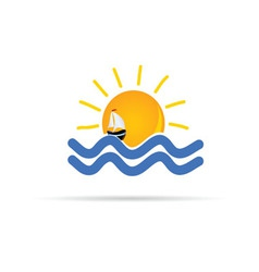 sun and sea with boat icon color vector image