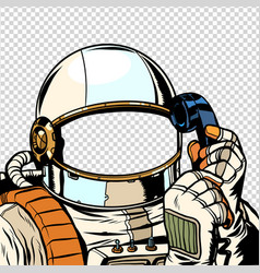the astronaut is talking on phone empty vector image