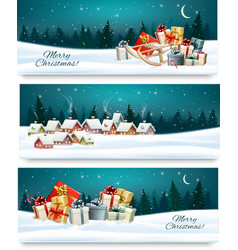 Three Christmas festive banners with landscapes vector