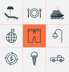 travel icons set with swim suit beach ice cream vector image