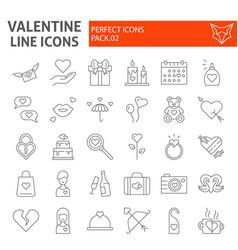 valentines day thin line icon set romance symbols vector image