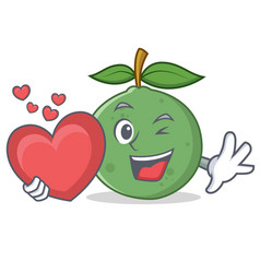With heart guava mascot cartoon style vector