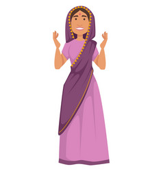 woman in sari indian nationality traditional vector image
