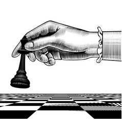 Womans hand with a black king chess piece vector