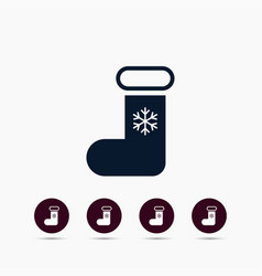 xmas sock icon simple winter sign vector image