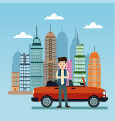 young man with car city background vector image