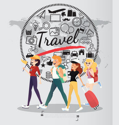 backpacking people with travel icons on world map vector image vector image