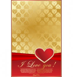 elegant red background with heart vector image vector image