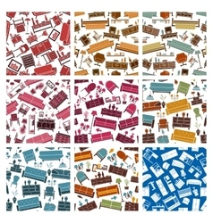 Home furniture elements pattern vector image vector image