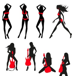 silhouettes of girls set vector image vector image