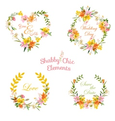 Vintage Floral Tags Labels and Banners for T-shirt vector image
