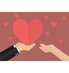 Man giving heart to a woman vector image vector image