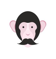 monkey with mustache chimpanzee head primacy of vector image vector image