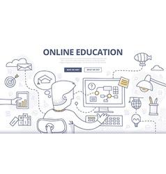 Online Education Doodle Concept vector image