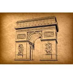 arch of triumph on the brown background vector image
