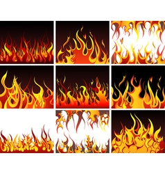 Big collection of fire elements vector image vector image