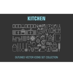 Outline set cooking icons vector image vector image