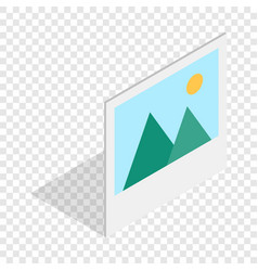 Picture with mountains and sun isometric icon vector