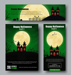 Set of posters flyers and banners for Halloween vector image