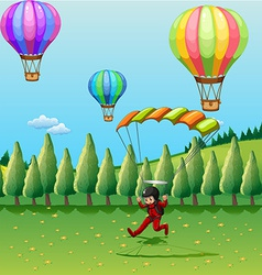 Balloons and parachute vector image vector image