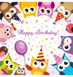 Birthday card with owls vector image vector image