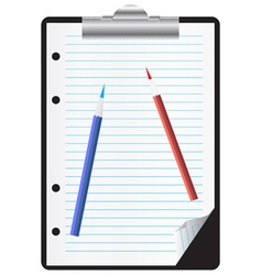 Clipboard with paper and pencils vector image