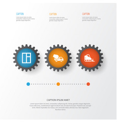 construction icons set collection of glass frame vector image vector image