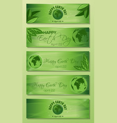 green banner set for earth day vector image
