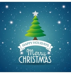 happy holidays merry christmas tree star label vector image vector image