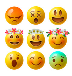 set of smiley face emoji or yellow emoticons vector image vector image