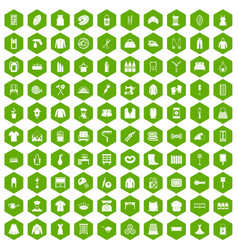 100 needlework icons hexagon green vector