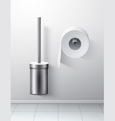 3d silver toilet brush toilet paper roll vector image