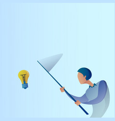 Abstract business man catch light bulb with vector
