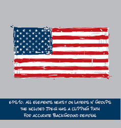 American flag flat - artistic brush strokes and vector