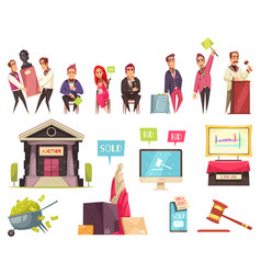 Auction flat icons collection vector