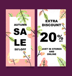 autumn sale vertical banners set vector image