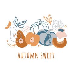 Autumn sweet delightful fruits hand drawn vector
