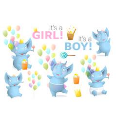Baby elephant boy and girl birthday object clipart vector