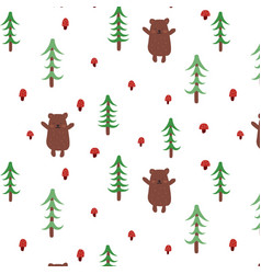 bear doodle seamless pattern vector image